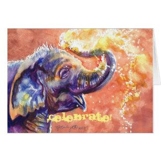 L'éléphant de bébé célèbrent ! carte de vœux