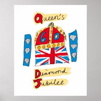 L'emblème de jubilé de diamant de la Reine Posters
