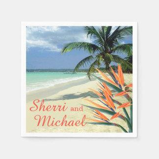L'ÉMERAUDE ARROSE le mariage de plage tropical Serviette Jetable
