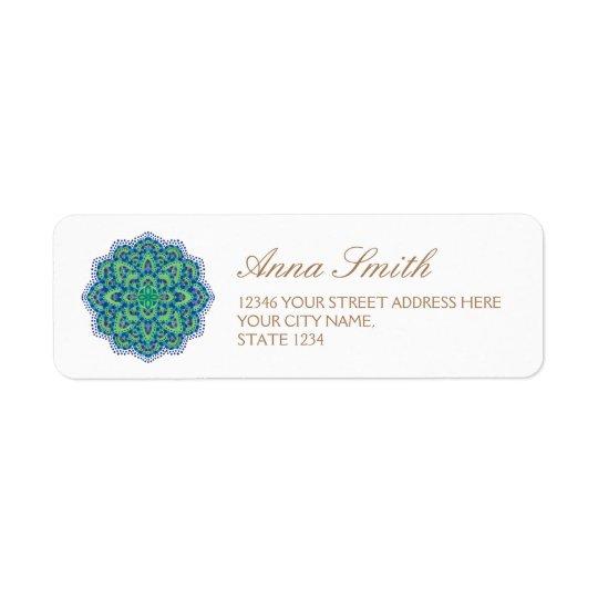 L'émeraude de Mandala-Cool Étiquette D'adresse Retour