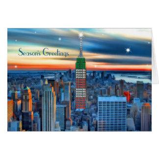 L'Empire State Building dans les vacances allume Carte De Vœux