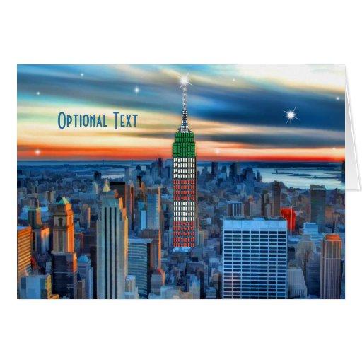 L'Empire State Building dans les vacances allume l Carte De Vœux