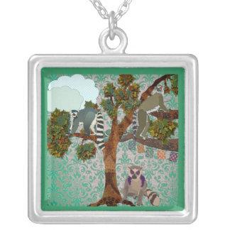 Lémurs d'une forêt de jade de Boho Pendentif Carré