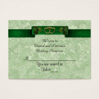 L'endroit de mariage carde les shamrocks irlandais cartes de visite