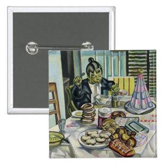 L'enfant avec les gâteaux badge carré 5 cm