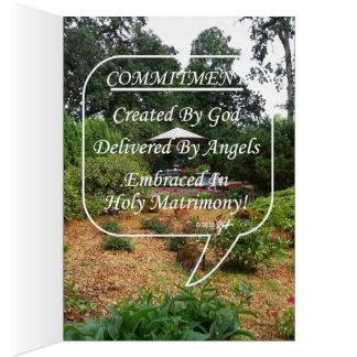 L'engagement créé/a livré/vue embrassé de jardin cartes de vœux