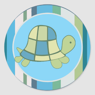 L'enveloppe de rayure bleue de BAIE de TORTUE Sticker Rond