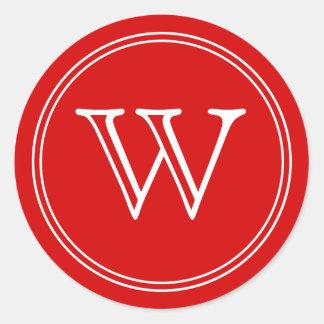L'enveloppe rouge de monogramme scelle des sticker rond
