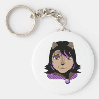 Leona la fille de léopard aime le pourpre porte-clefs