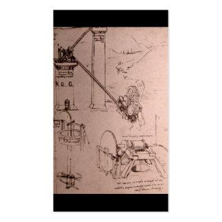 Leonardo da Vinci, dessins des machines Carte De Visite Standard