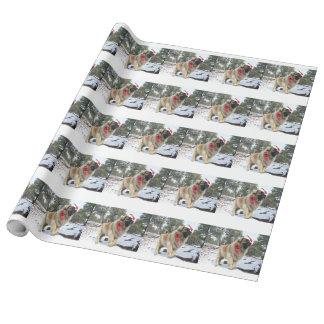 Leonberger de Père Noël Papier Cadeau Noël