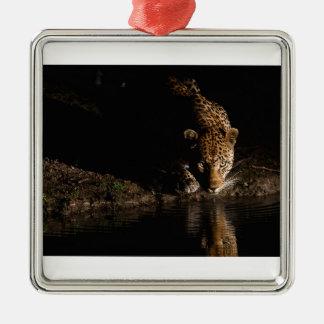 Léopard africain ornement carré argenté