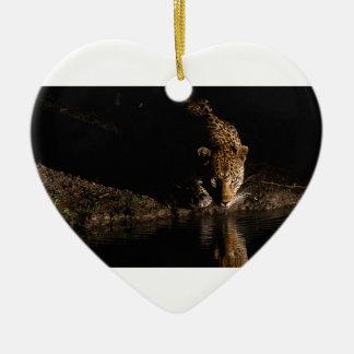 Léopard africain ornement cœur en céramique