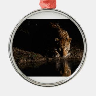 Léopard africain ornement rond argenté