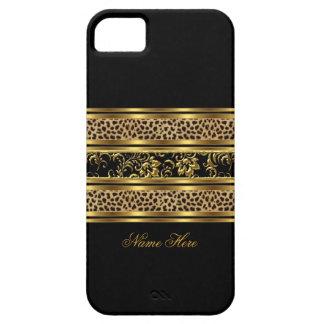 léopard chic élégant de noir d or de l iPhone 5 fl Coque iPhone 5