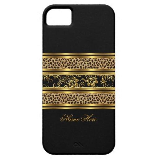 léopard chic élégant de noir d'or de l'iPhone 5 fl Coque iPhone 5