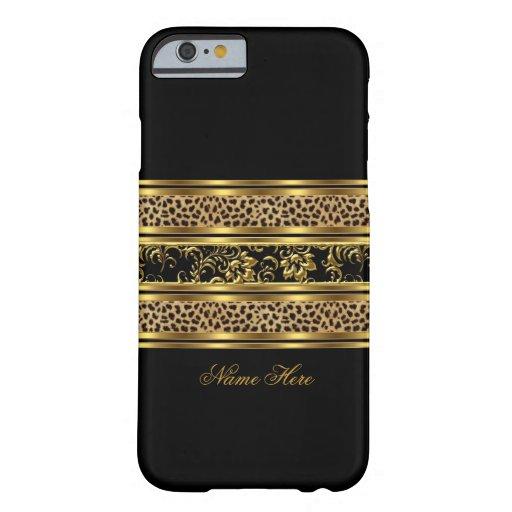 léopard chic élégant la Floride de noir d'or de ca Coque iPhone 6 Barely There