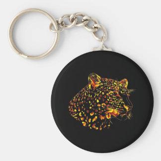 Léopard de fleur porte-clef