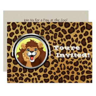 Léopard de lion de safari de jungle de la fête carton d'invitation  12,7 cm x 17,78 cm