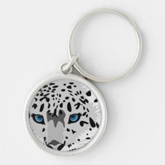 léopard de neige abstrait porte-clé rond argenté