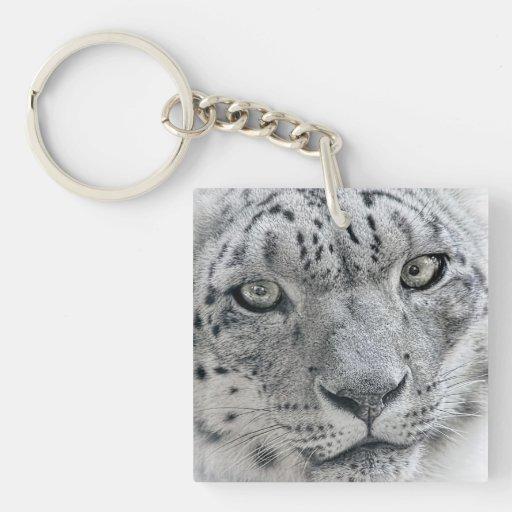 Léopard de neige blanc exotique porte-clef