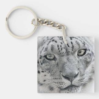 Léopard de neige blanc exotique porte-clé carré en acrylique une face