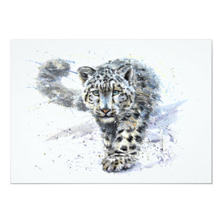 Léopard de neige carton d'invitation  12,7 cm x 17,78 cm