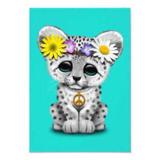 Léopard de neige hippie mignon CUB Carton D'invitation 8,89 Cm X 12,70 Cm