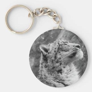 Léopard de neige paisible porte-clé rond