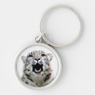 Léopard de neige porte-clé rond argenté