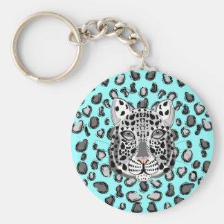 Léopard de neige porte-clé rond