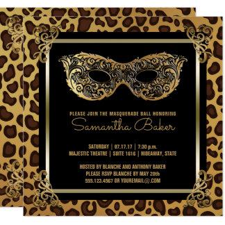 Léopard de sweet sixteen de la partie | de carton d'invitation  13,33 cm