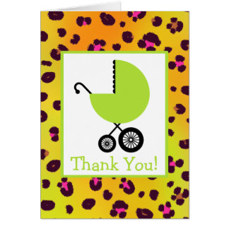 Léopard et Merci vert de baby shower de chariot Cartes