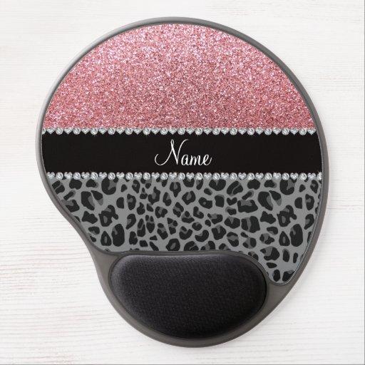 Léopard nommé de noir de scintillement de rose en  tapis de souris avec gel