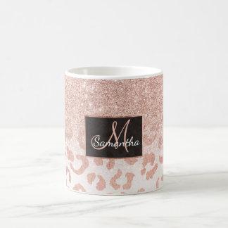 Léopard rose d'ombre de scintillement d'or de faux mug