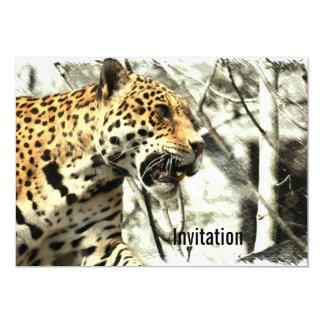 léopard sauvage animal de safari de faune de carton d'invitation  12,7 cm x 17,78 cm