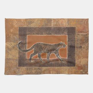 Léopard sur l'arrière - plan d'orange et de Brown Serviette Pour Les Mains