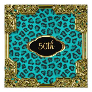 Léopard Teal 3 de fête d'anniversaire Carton D'invitation 13,33 Cm
