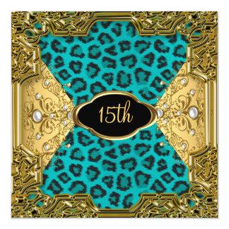 léopard Teal 4 de fête d'anniversaire de Carton D'invitation 13,33 Cm