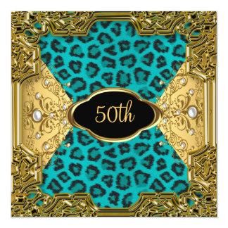 Léopard Teal 4 de fête d'anniversaire Carton D'invitation 13,33 Cm