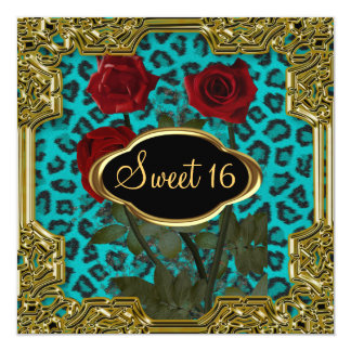 Léopard Teal 5 de fête d'anniversaire du bonbon 16 Carton D'invitation 13,33 Cm