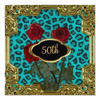 Léopard Teal 5 de fête d'anniversaire Carton D'invitation 13,33 Cm