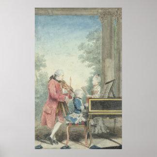 Leopold Mozart et ses enfants Wolfgang Affiche