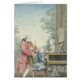 Leopold Mozart et ses enfants Wolfgang Carte De Vœux
