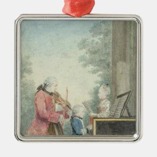 Leopold Mozart et ses enfants Wolfgang Ornement Carré Argenté