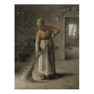 L'épouse d'un agriculteur balayant, 1867 carte postale