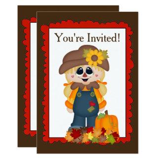 L'épouvantail de fille de chute ajoutent carton d'invitation  12,7 cm x 17,78 cm