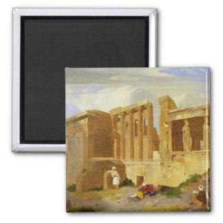 L'Erechtheum, Athènes, avec des figures dans le Fo Magnet Carré