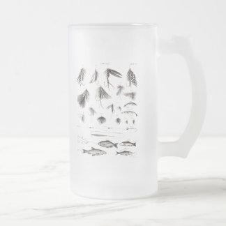 Les 1800s vintages pêchant la pêche de mouche mug en verre givré