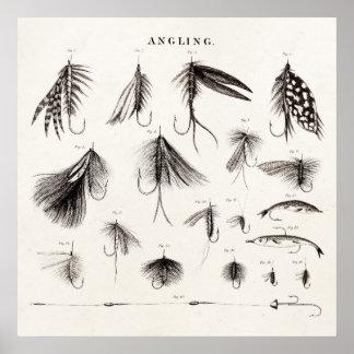 Les 1800s vintages pêchant la pêche de mouche posters